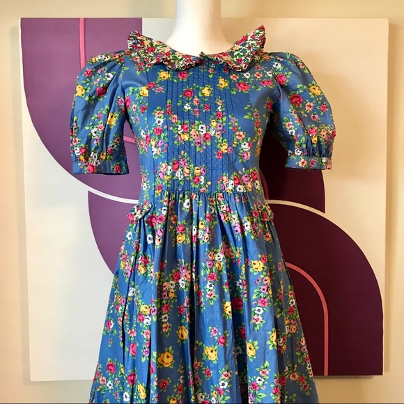 Incroyable 🎉HP🎉NWT Vintage 80s Calico Floral Girls Dress 12